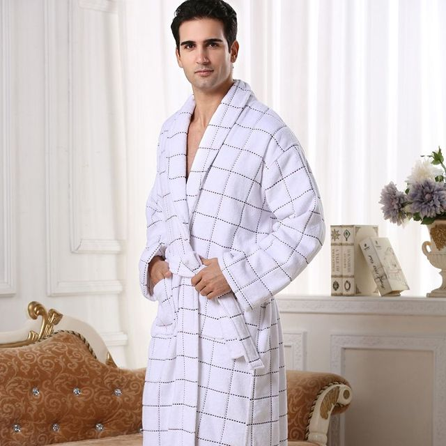 High-end Cotton bathrobe men women nightgown towel fleece sleepwear for girls thickening lovers long plus size autumn winter