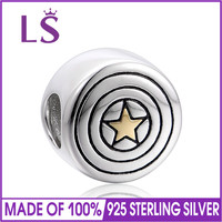 LS 925 Sterling Silver Accessories Star Beads Fit Brand Charm Silver Bracelet Jewelry 10pcs/lot