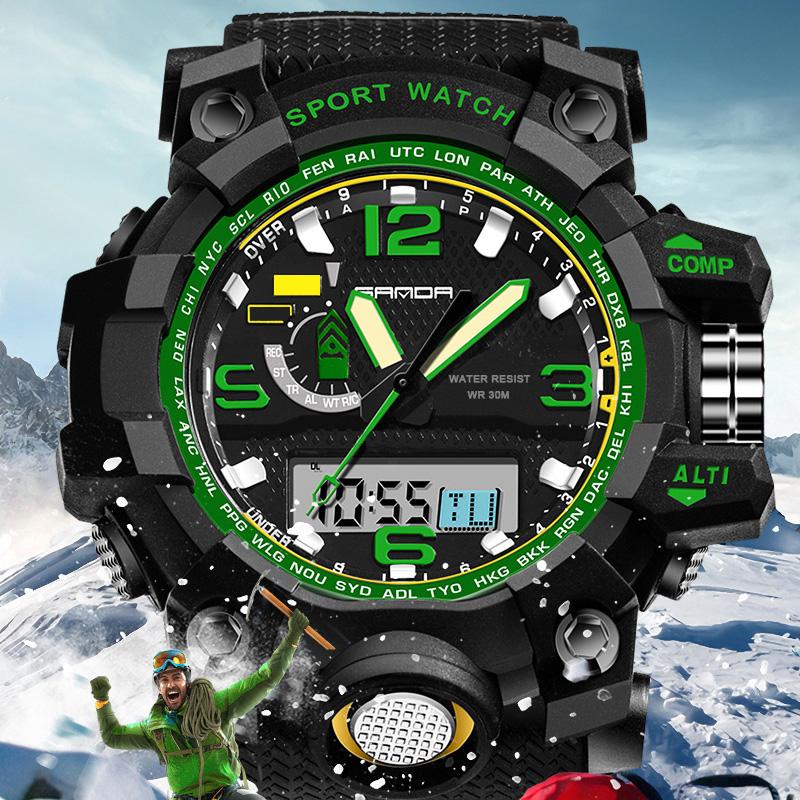 Prix pour SANDA LED Numérique Montre Hommes Montres Top Marque De Luxe Célèbre Sport Militaire Montre-Bracelet Homme Horloge Électronique Relogio Masculino