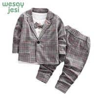 Enfants vêtements garçons mode Gentleman Bow costume ensemble veste t-shirt pantalon plaid 3 pièces ensemble 2019 printemps nouveau enfants à manches longues