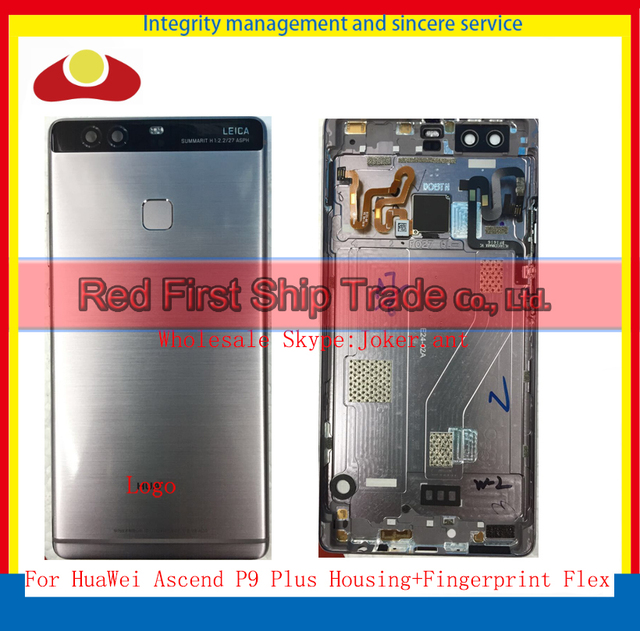 High Quality For HuaWei Ascend P9 Plus Back Housing Rear Cover Case Battery Door+Fingerprint Flex Gray Gold +Tracking Code