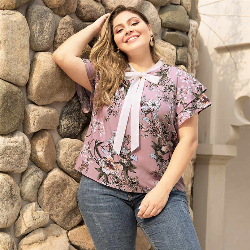 Dames Casual Blouse Korte Mouw V-hals Bloemen Prined Plus Size Zomer Blouses Voor Vrouwen Mode dames kleding #15