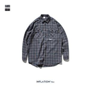Image 5 - Inflatie 2020 Herfst Klassieke Casual Shirt Mannen Plaid Shirt Lange Mouw Streetwear Mannen Katoen Vintage Shirt 92107W