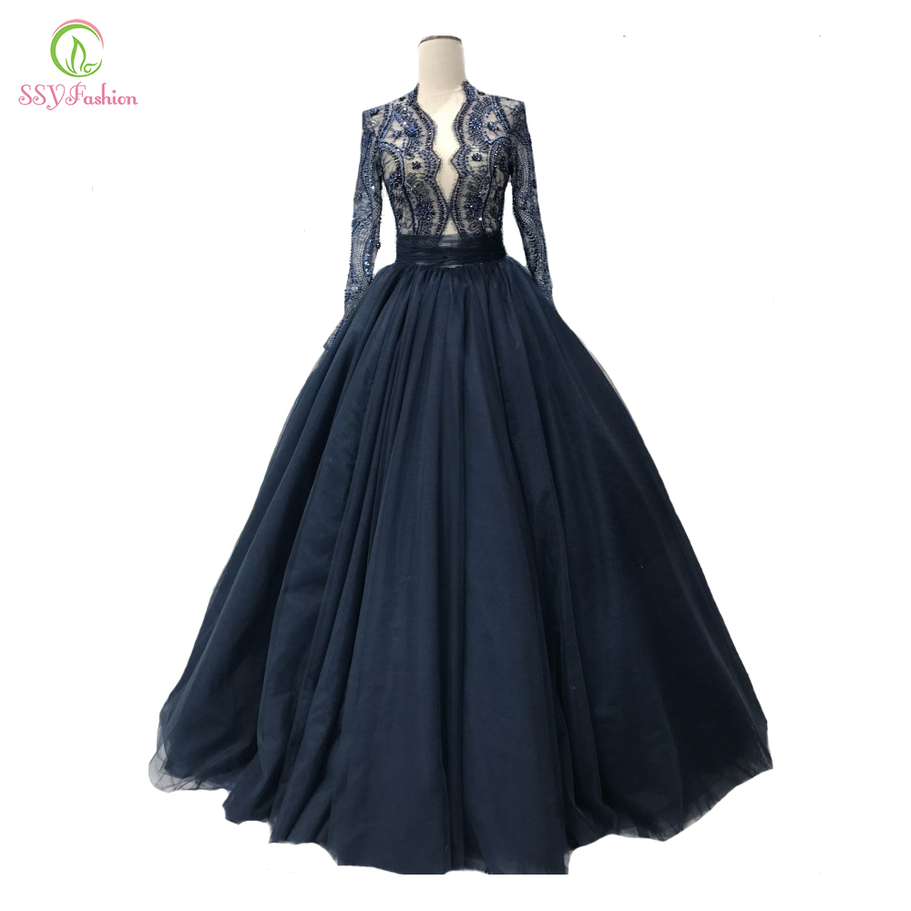 12cfaa1c0021 SSYFashion New High-end Lace Evening Dress Luxury Navy Blue Long Sleeved V-neck  Beading Prom Party Gown Custom Formal Dresses