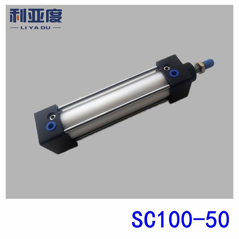 SC100*50 Rod aluminum alloy standard cylinder SC100X50 pneumatic components 100mm Bore 50mm Stroke sc100 100 rod aluminum alloy standard cylinder sc100x100 pneumatic components 100mm bore 100mm stroke
