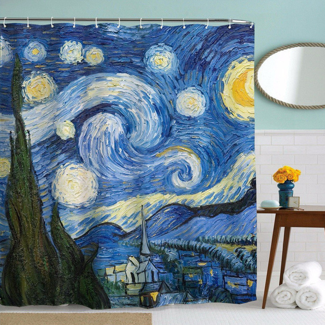 Starry Night Shower Curtain Printed Van Gogh World Famous Paintings Polyester Fabric Print SC003