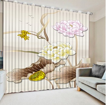 Modern Brief 3D Window Curtain Lotus The Living Room Bedroom Curtains lotus design Curtain Drapes