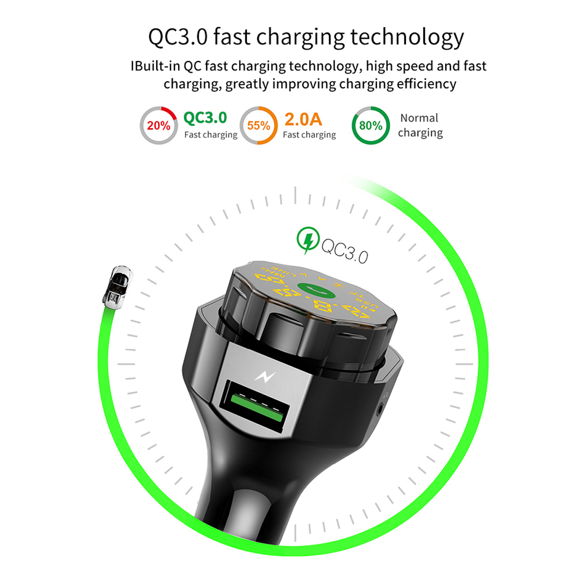 Image 3 - AP06 QC3.0 Fast Car Charger Wireless Bluetooth FM Transmitter MP3 Player Hands free Calling Car Kit with Dual USB and AUX Ports-in FM Transmitters from Automobiles & Motorcycles