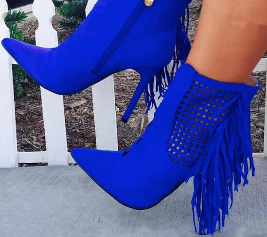 Sestito Woman Sexy Cut-outs Tassel Blue Ankle Boots Girls Side Zipper Stiletto High Heels Short Boots Lady Pointed Toe Shoes стоимость