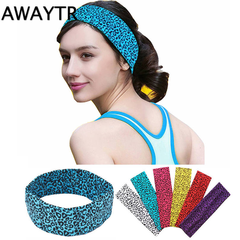 AWAYTR Sports Hair Bands Cheetah Leopard Printing Cotton Stretch Headbands Bandage On Head Gum Turban Bandanas Autumn Winter