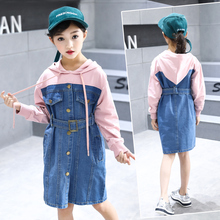 Kids Girls Dress Long Sleeve 2018 Spring fall Girls dress  7 8 9 10 Years Baby Girl Dresses Princess  Denim long Dress for 4-15Y цена и фото