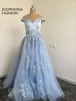 Fashion V Neck Saudi Arabic Evening Dress Lace Beaded Off The Shoulder Organza Puffy Evening Gowns