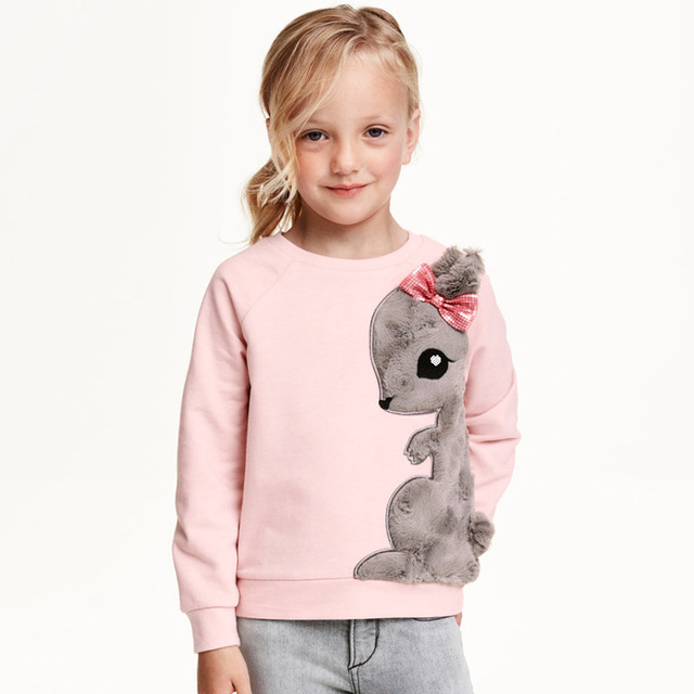 2016 Autumn Toddler children Girls Baby Wool & Blends Tops pink coat  Outfits Set Clothing gray rabbit Casual Sweater  2-7T