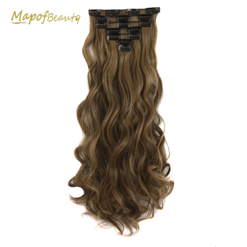 Dynamic Long Wavy 7pcs Clips In Hair Extensions Heat Resistant Synthetic Wigs For Women Black Brown Blonde Ombre Fake Hair Mapofbeauty