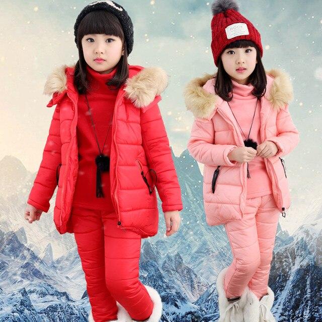 Новые стильные детские девушки жилет толстовки пальто брюки одежда 3 шт набор для детей холодная зима теплая одежда установить высокое качество