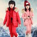 Nuevo estilo bebé chaleco hoodies coat pantalones ropa 3 piezas conjunto para los niños frío invierno caliente arropan el sistema de alta calidad