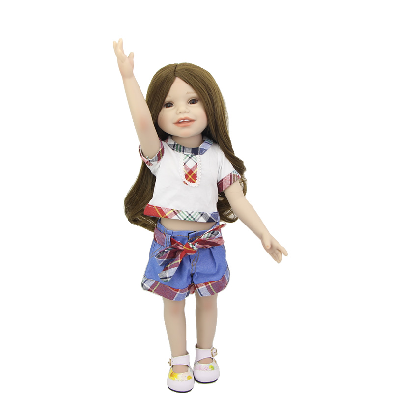 Realistic Girl Doll 18 Inch American Baby Full Vinyl Body Babies Newborn Toy Waterproof Dolls With Causal Clothes For Sale lifelike american 18 inches girl doll prices toy for children vinyl princess doll toys girl newest design
