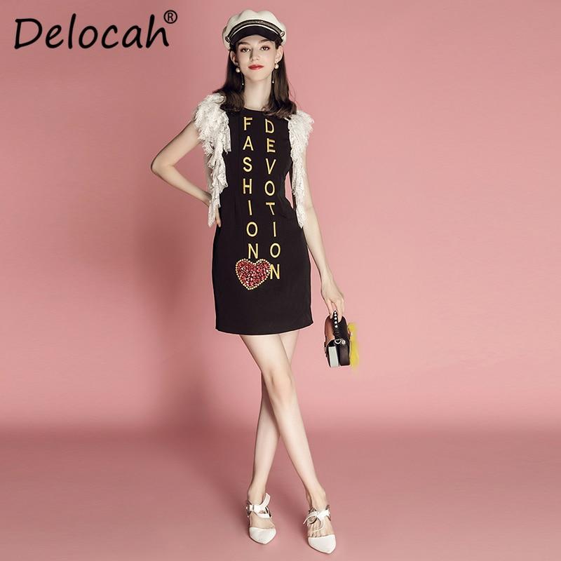 98228cb2a17 Manches Robe Broderie Lettre Diamants Mode Robes Mini D été De Design  Dentelle Noir Femme Cristal Pour Vintage ...