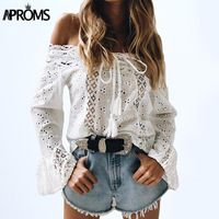 Aproms White Lace Crochet Blouse Shirt Women S Flare Sleeve Hollow Out Sheer Cotton Shirt 90s