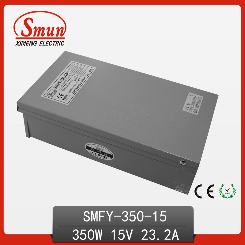 CE RoHS Approved 350W Metal Case Single Output Reliable Rainproof Switching Power Supply SMPS 350W 15V 23A (SMFY-350-15) real factory best price s 350 5 single output switching power supply ce rohs approved 5v dc output power supply