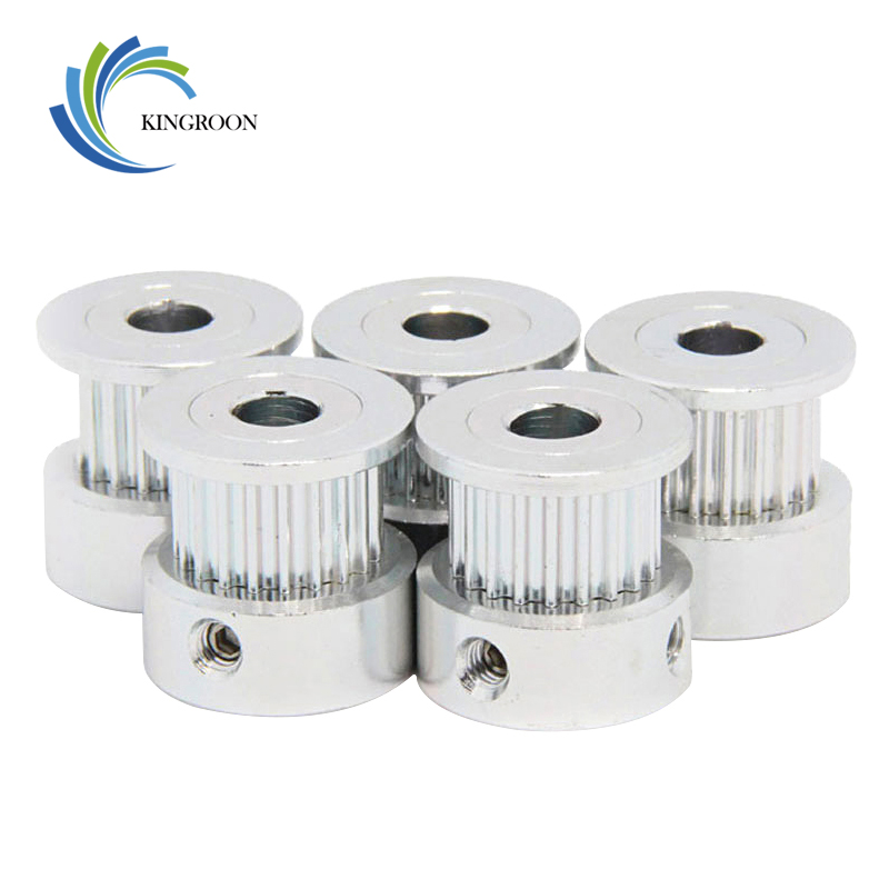 5pcs GT2 Timing Pulley 20tooth Aluminum Parts 2GT Synchronous Wheel 20 Teeth Bore 5mm Width 6mm 3D Printer Part Tooth Gear Screw