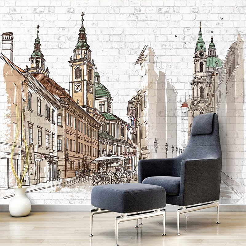 Hand Painted European City Large Murals Coffee Shop Restaurant Bedroom Brick Wall Decoration Art Mural Custom Photo Wall Paper