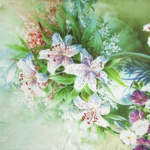 Шелковый шарф женский шарф Лилия Шелковый платок цветочный дизайнерский шарф Шелковый пашмины длинный плотный шелковый шарф роскошный подарок для леди - Цвет: No 1