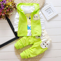 Baby Girl Boys Clothes Autumn And Winter Full T Shirt Pants Vest 3 PCS Suit For