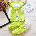 Meninos Roupas de bebê Menina Outono e Inverno Completa T Shirt + Calças + colete 3 PCS Terno Para Bebês Bebes Recém-nascidos de Algodão Conjunto de Roupas