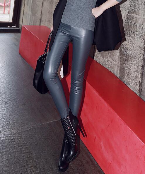 Pies Pu Agregar Caliente Y Leggings Alta Cuero Mujer rojo La Lana De marfil Moda 2019 s Cintura Negro Nueva Pantalones gris plata xxl IZfwvIqg