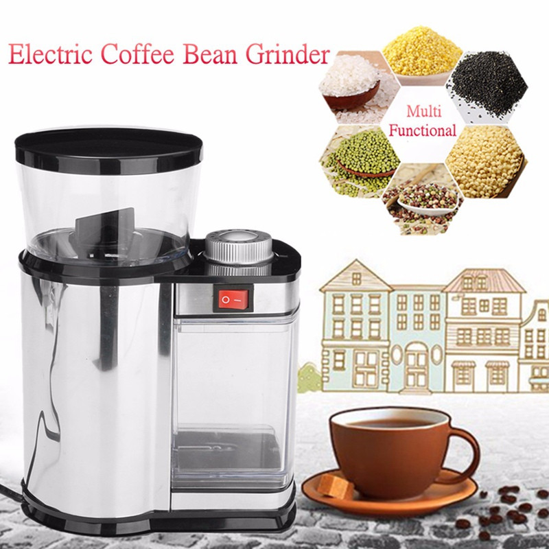 220V US Plug Electric Coffee Grinder Nuts Seeds Coffee Bean Grinding Machine Stainless Steel Multi purpose Household Kitchen