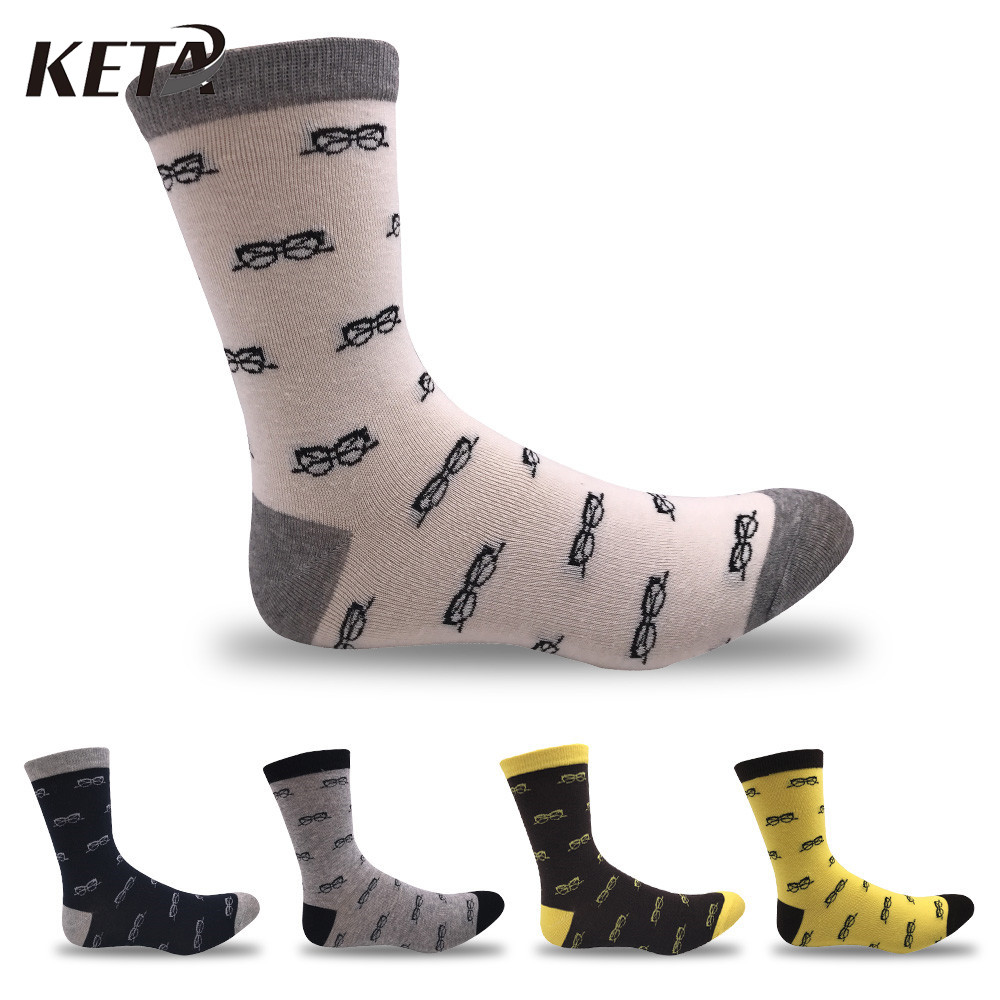 KETA Casual Funky Men Socks Glasses Print Breathable Cotton Business Dress Socks For Male Fashion Novelty Funny Socks 5Pairs