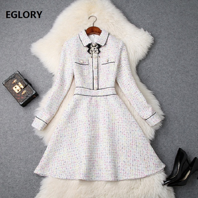 2018 Winter Fashion Wool Dress High Quality Women Colorful Wool Blend Bow Beading Patchwork Long Sleeve Dress Designer Clothing
