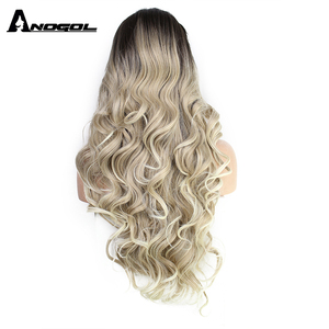 Image 3 - ANOGOL Deep Brown Ombre Blonde Synthetic Lace Front Wigs with Dark Roots Long Body Wave Wig for Women