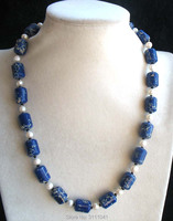 Freshwater Pearl White And Jade Illar Blue Green 20inch Necklace Wholesale Nature Beads FPPJ