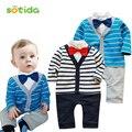 Bebe мальчик моды с длинным рукавом стиль 2016 Новый baby boy одежда полоса костюм дети одежда устанавливает bebe одежда наборы
