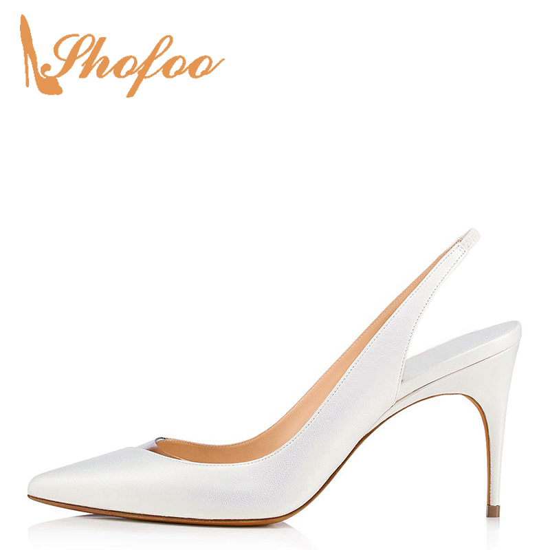 White PVC Patchwork Pointy Toe Slingbacks Soft Leather Pumps Woman High Stilettos Large Size 11 14 Thin Heels Party Summer 2019