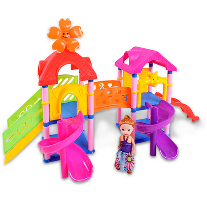 Children Assembled Amusement Park Theme Building Blocks Color Slides Stairs Park with Cute Cartoon Doll for Kids Birthday Gifts