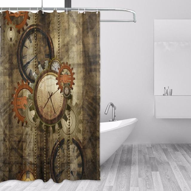 Waterproof Retro Steampunk Shower Curtain