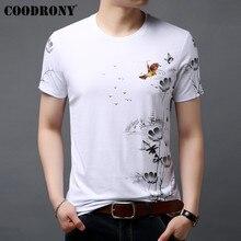 Coodrony t camisa masculina 2019 verão estilo chinês flor e pássaro pintura camiseta masculina manga curta o pescoço camisa t homme s95038