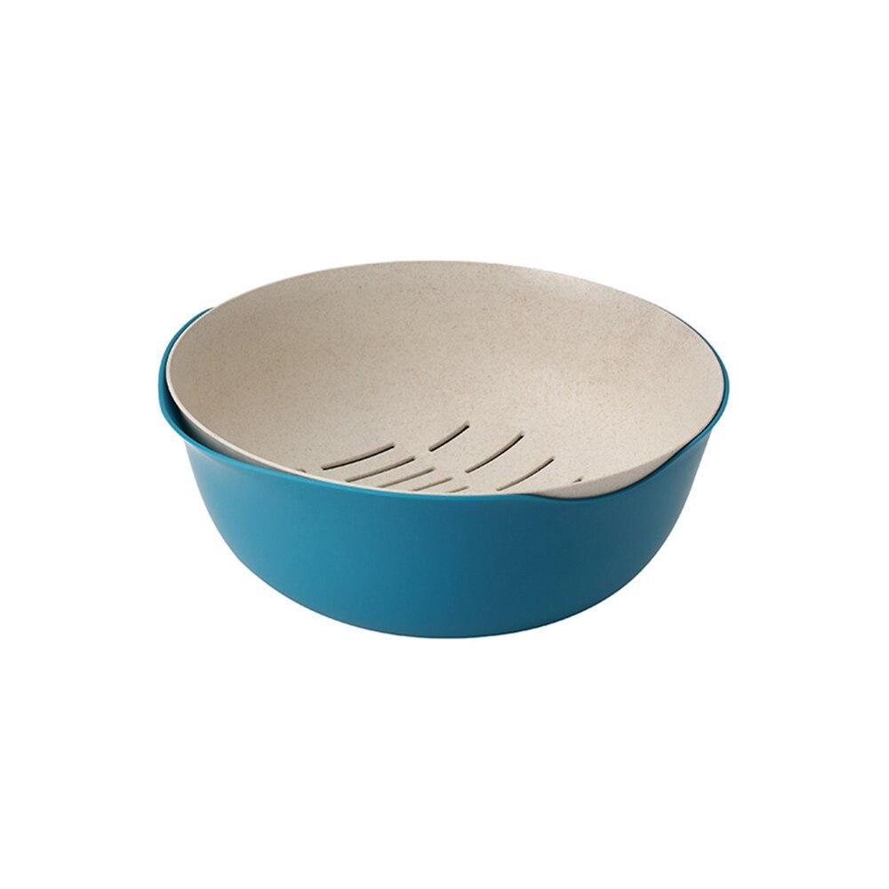 Многофункциональная двухслойная сливная корзина пластиковый фильтр для воды Фруктовая корзина для риса кухня Vegatable раковина для домашних принадлежностей - Цвет: Темно-синий