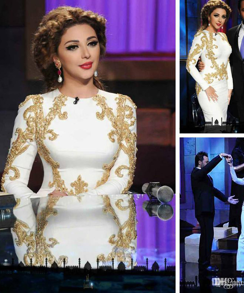 2018 Long White Satin Myriam Fares Arabic Muslim Evening Dresses with Long Sleeves Vestidos Longo Beading Formal Gowns in Bridesmaid Dresses from Weddings Events