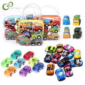 Image 1 - 6 pièces retirer voiture jouets voiture enfants course voiture bébé Mini voitures dessin animé retirer Bus camion enfants jouets pour enfants garçon cadeaux GYH