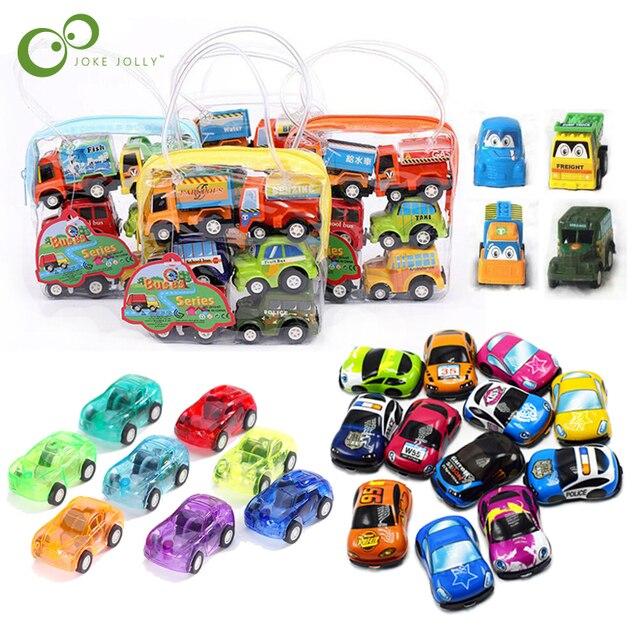 6pcs Pull Back Car Toys Car Children Racing Car Baby Mini Cars Cartoon Pull Back Bus Truck Kids Toys For Children Boy Gifts GYH