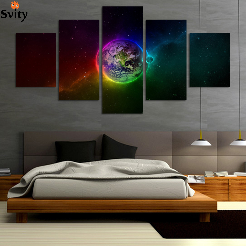 Planets Wall Art Us 9 75 25 Off Unframed Printed Planets Outer Space 5 Piece Painting Wall Art Children S Room Decor Poster Canvas Free Shipping F246 In Painting