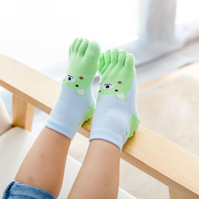 New Design Cute Cartoon Bear Five Toes Socks Kids Socks Girl Boy Children Hosiery Five Fingers Socks Mesh Breathable Foot Socks 4