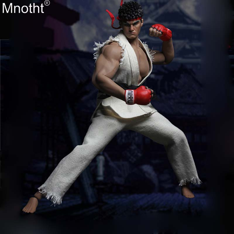 Mnotht 1/6 Street Fighter SET022 Black/white Clothes Fighting Pants Suit Head Carving Model for 12in Soldier Action Figure Toy a