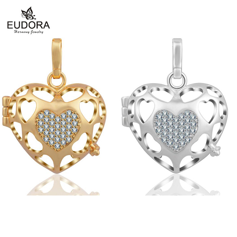 Eudora Harmony Bola Hollow Heart Crystal Floating Locket Cage 16mm fit Angel Caller Ringing Chime Pendant For Pregnancy Women