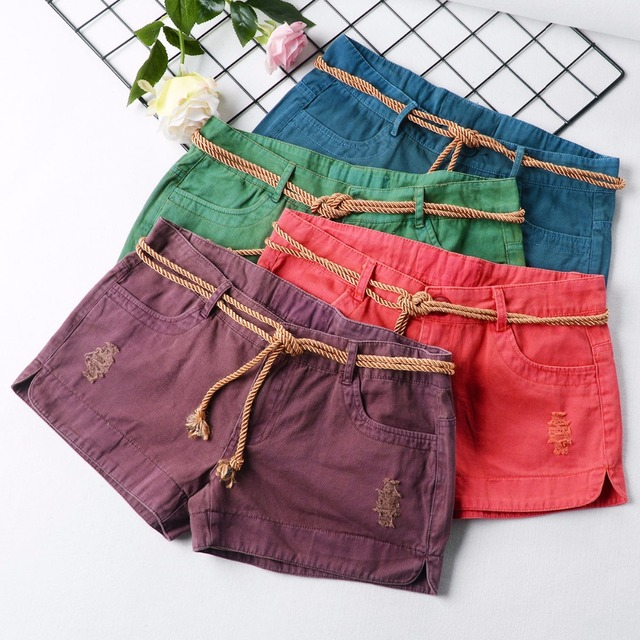 Womens Denim Shorts 2018 Summer Sexy Low Waist Ripped Hole Drawstring Micro Jeans Shorts Female Short