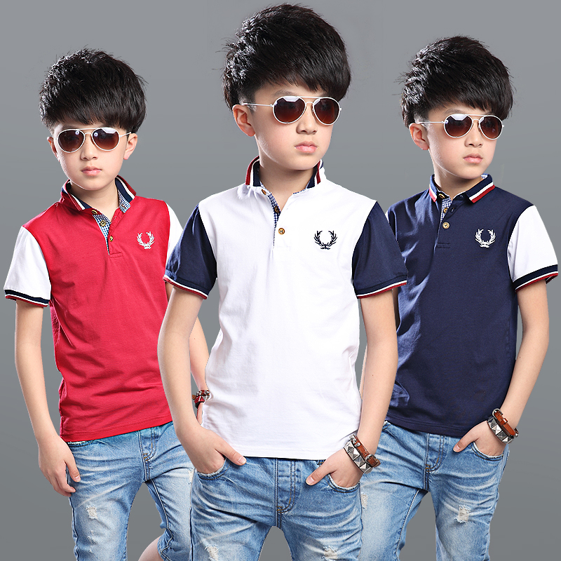 Childrens wear boys summer POLO shirt 2017 new childrens sports short-sleeved Cotton shi ...